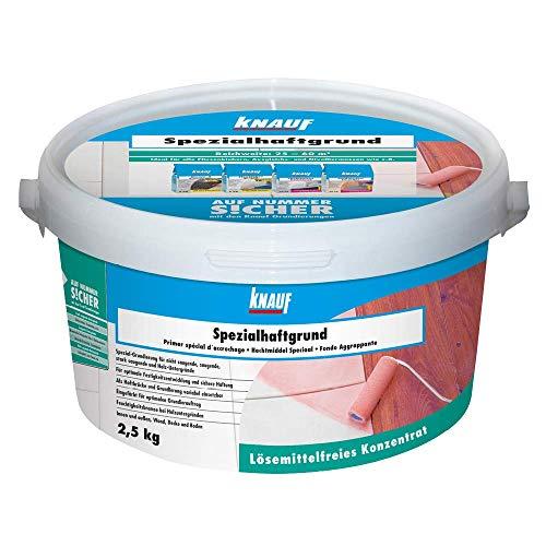 Knauf 47852 Spezialhaftgrund Spezial-Haftgrund, lösemittelfreie Grundierung, reguliert die Saugfähigkeit Haft-Grund, Primer auch für Holzuntergründe geeignet, Untergrund-Vorbereitung, Orange, 2,5 kg