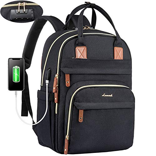 LOVEVOOK Laptop Backpack for Men & Women Unisex Travel Anti-Theft Bag Business Work Computer Backpacks Purse College School Student Bookbag, Casual Hiking Daypack with Lock, 15.6 Inch, Black