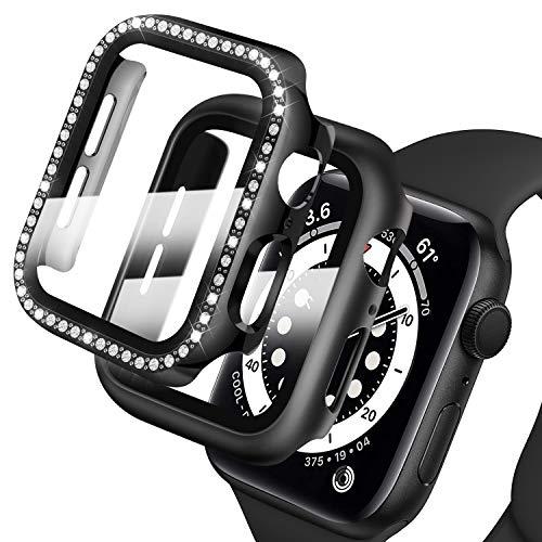 Deilin 2 Stück Hard Hülle mit Diamant und Glas Displayschutz, Kompatibel mit Apple Watch Series 6/ SE/Serie 5/ Series 4 40mm, Bling PC-Schutzrahmen mit Glänzender Oberfläche für Frauen Mädchen iWatch