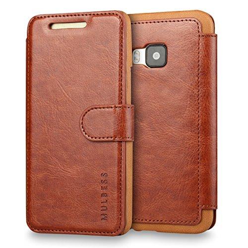 Mulbess Handyhülle für HTC One M9 Hülle Leder, HTC One M9 Handy Hüllen, Layered Flip Handytasche Schutzhülle für HTC One M9 Hülle, Braun