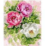 BERYART Kit de peinture à l'huile à faire soi-même avec pinceaux acryliques par numéro sur toile à colorier à la main - Pivoine en fleur - 40,6 x 50,8 cm (sans cadre)