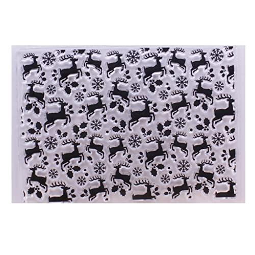 LIZHILIAN Sello de silicona transparente de ciervos de Navidad DIY Scrapbooking grabación en relieve álbum de fotos decorativo papel tarjeta manualidades sellos transparentes