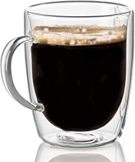 WBSEos Coffee Glass, Crystal Double-Layer Glass Cup, High Borosilicate Mug for Tea, Latte, Milk, Beer, Juice 375ml set of 1(12.6 Ounce)