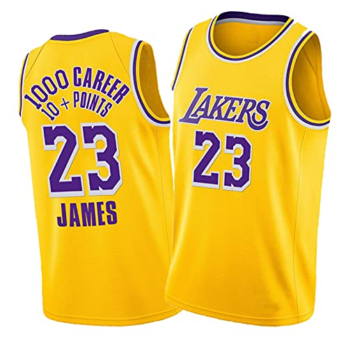 James Jersey, 23# Al Menos 10 Puntos en 1000 Jersey Icon Edition Gold Basketball Jersey para Hombre, Deportes de Verano Wicking L