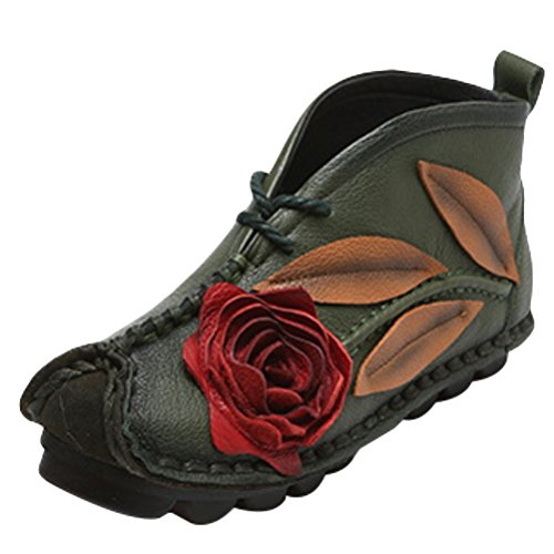 Mordenmiss Women's Ethnic Unique Emobossed Rose Sweet Ankle Bootie Street Lace Flat Green US 7.5