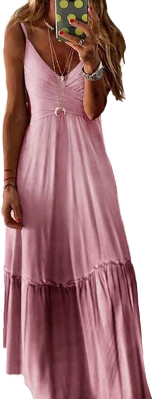 Linsery Women's Gradient Printed Sleeveless Beach Spaghetti Strap Long Dress