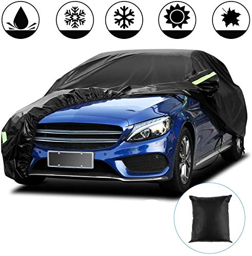 Funda para Coche Exterior Negra 210T Impermeable Lona para Coche Cubierta Coche Exterior contra Sol Nieve Polvo Viento Tamaño Universal (4.4 * 1.8 * 1.6m/173 * 70 * 62 in/ 210T)