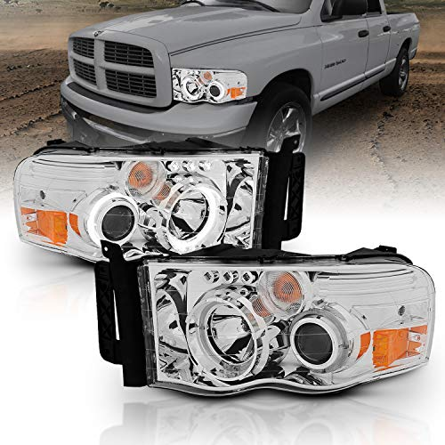 AmeriLite Chrome Dual Intense LED Halo Projector Headlights Pair for Dodge RAM Truck 1500 2500 3500 Replacement