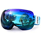 Supertrip Ski Snowboard Goggles for Men & Women Over The Glasses Snow Goggles Anti Fog 100% UV Protection Double Lens Interchangeable Lens for Skiing (Gray Revo Ice Blue(VLT 28%) Without case)