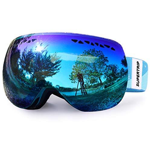 Supertrip Skibrille Damen Herren Snowboardbrille Schneebrille Verspiegelt Ski-Schutzbrillen Schneebrille 100% UV400 schutz für Brillenträger Antifog Skifahren Snowboarden (Graues Revo Eisblau(VLT28%))