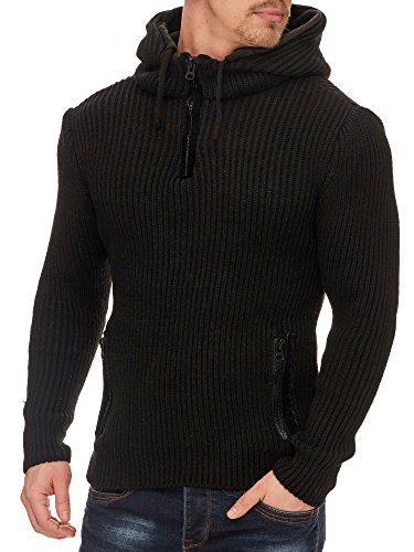 Tazzio Herren Styler Pullover mit Kapuze 16492 Schwarz L
