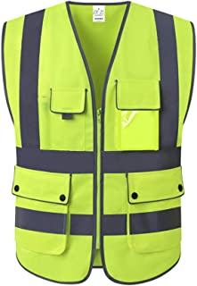 XIAKE Class 2 Reflective Safety Vest with 9 Pockets and Zipper Front High Visibility Safety Vests,ANSI/ISEA Standards(Larg...