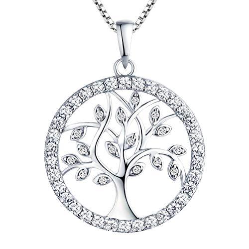 YL Collar Árbol de la Vida Plata de Ley 925 Colgante con AAA Blanco Circonita Collares para Mujer Madre Mamá Abuela