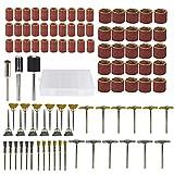 Juego de brocas de accesorios para herramientas rotativas, 99 piezas, kit de tambor de lijado, cepillo de pulido de alambre para taladro Dremel