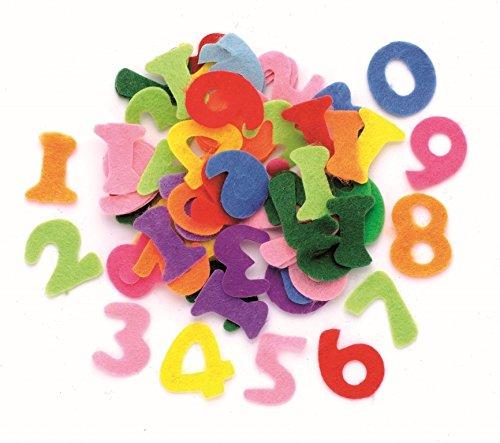 Glorex Números para decoración, Fieltro, multicolor, 17 x 11,5 x 1 cm, 150 Unidades