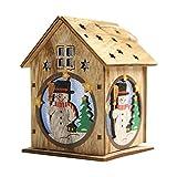 Lixada Luz Nocturna Infantil Navidad Luminosa de Casita de Madera con Dibujo de Santa Claus con Coloridos Leds Chalet de Navidad árbol Adornos Colgantes Festival Regalos