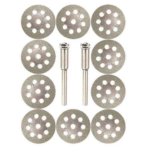 DXX-HR Hoja de sierra, 10 discos de corte con revestimiento de diamante de 22 mm, 9 agujeros, con 2 mandril para herramienta de corte Dremel