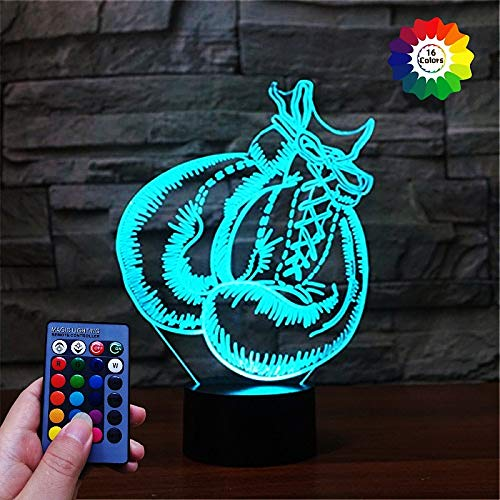 3D Boxhandschuhe Lampe Fernbedienung USB Power 7/16 Farben Amazing Optical Illusion 3D LED Lampe Formen Kinder Schlafzimmer Nacht Licht