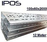 12 m IPOS Kabelrinne 100x60 Kabelkanal Kabeltrasse Verzinkt Metallkanal