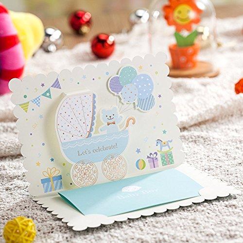 Cute Baby Boy Invitation de douche de découpe laser Cartes bébé anniversaire Cartes de vœux bébé cadeaux (DE 20 Couvre-sièges de) bleu