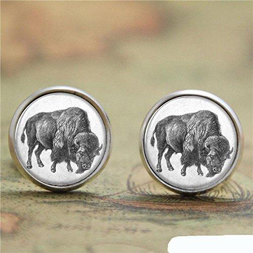 Pendientes de cristal de búfalo con diseño vintage, pendientes de poste de cowboy, pendientes hechos a mano, joyería para mujer