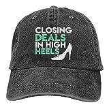 Cerrar ofertas con tacones altos retro gorra de béisbol hombres mujeres vintage ajustable papá sombrero de sol negro