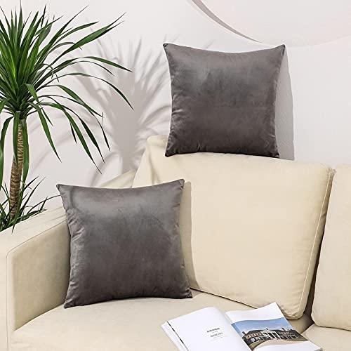QUALKNOY Fundas de cojín de terciopelo gris, 18 x 18 cm, fundas de almohada suaves, para salón, sofá, dormitorio, decoración del hogar, sofá, con cremallera invisible, 45 x 45 cm, juego de 2