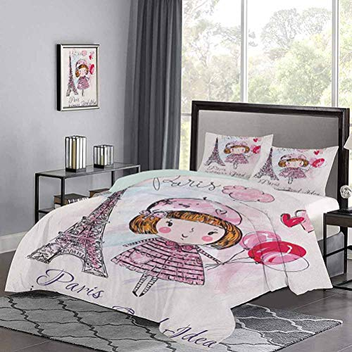 UNOSEKS LANZON Bedding Set Little Girl Holding Balloons Hearts a Cloud and Eiffel Tower Illustration Summer Duvet Cover Easy to Wash and Dry Pale Pink Purple White, Twin Size