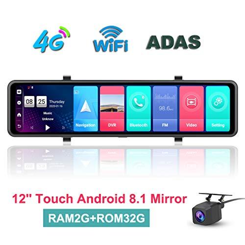 ShiZhen 2020 Newest 12 inch Full Screen 4G Touch IPS Car Dash Cam Rear View Android 8.1 Mirror RAM2GB ROM32GB with WiFi GPS Navi Bluetooth Music Dual Lens FHD 1080P