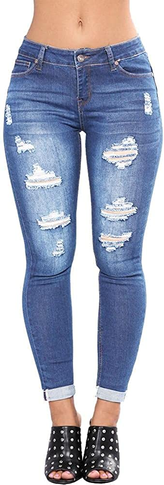 FUNEY Women's Classic Stretch Skinny Ripped Jeans High Waisted Destroyed Distressed Boyfriend Jeans Hole Denim Pencil Pants