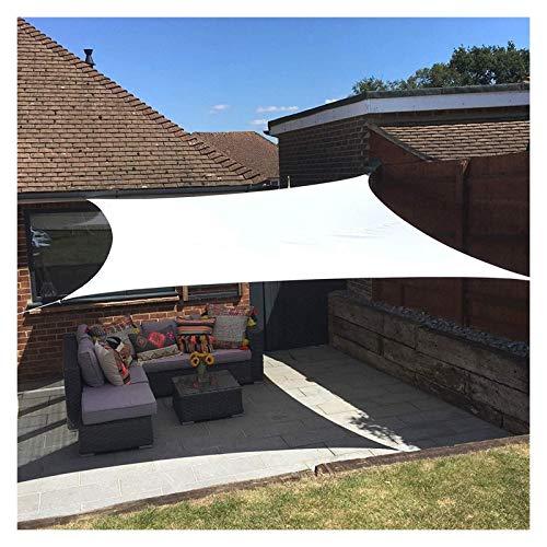 ZXD Vela De Sombra De Sol Rectángulo Impermeable Bloque UV Poliéster 160gsm Toldo Protector Solar con Kit De Fijación para Jardín De Patio Al Aire Libre (Color : White, Size : 2x2m)