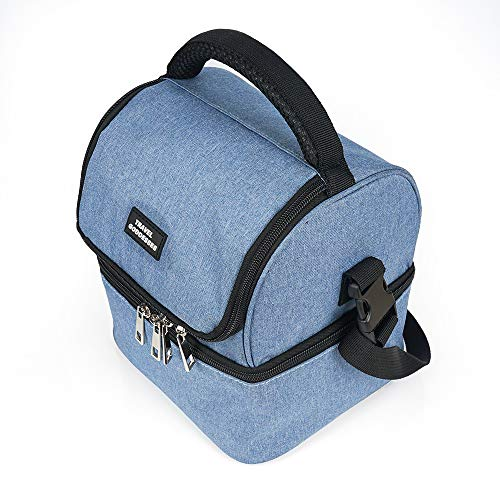 Insulated Lunch Bag for men, women , Lunch cooler box for kids with shoulder strap. Thermal Dual layer compartments cooler bag for work, school, picnic , travel , camping and marketing.