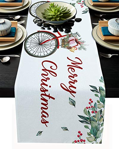 PIEPLE Red Bike with Christmas Tree Candy Bells Gifts Cotton Linen Table Runner Baby-Shower, White Winter Rectangle Tabletop and Dresser Scarves for Wedding/Picnic/Banquet 13' x 108'