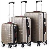 Monzana Set de 3 Valijas de Viaje Exopack Champán 40L 80L 105L Juego de Maletas con Ruedas y Mango telescópico
