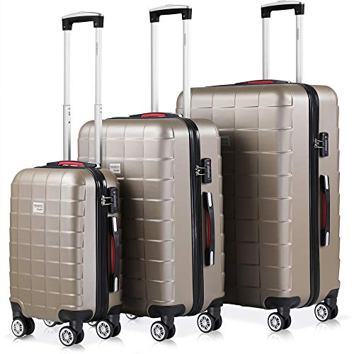 Monzana Exopack 3er Set Koffer | Champagner M, L, XL | TSA Schloss, Gel-Griff | Reisekoffer Rollkoffer Hartschale Trolley