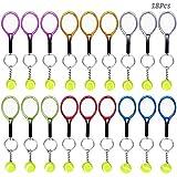 AUHOTA 18Pcs Mini Tenis Raqueta Llavero Llave Anillo, Noveda
