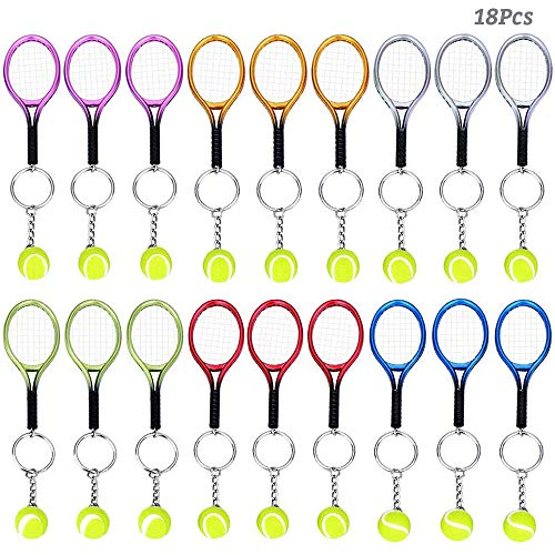 AUHOTA 18 Stücke Mini Tennis Schlüsselanhänger mit Tennisschläger Schlüsselring, Tennis Tennisgeschenk Geschenk Schlüs Schläger Schlüsselbund Schlüssel Ring (6 Farben)