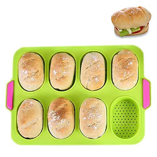 PDJW Baguette Baking Pan, 13.6x9.4 in, Bread Loaf Pan Bread Pan Baking Mould, French Bread Pan Baking Cakes Ciabatta Hamburger, Silicone Baking Trays NonStick Kitchen Baking Tools for Baking Breakfast