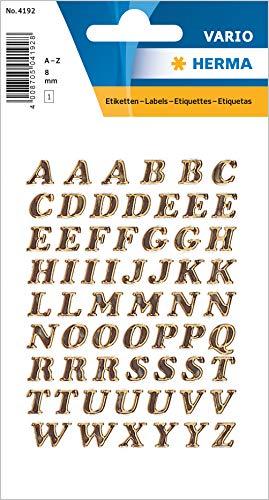 HERMA 4192 Buchstaben Aufkleber A - Z aus glitzernder Prismaticfolie (Schriftgröße 8 mm, 1 Blatt, Folie) selbstklebend, permanent haftende Alphabet Sticker, 61 Etiketten, gold