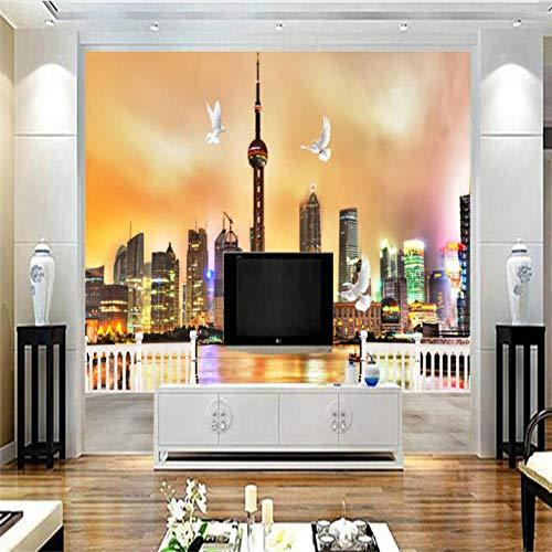 Mmneb Carta Da Parati In Stile Cinese Per Pareti Carte Da Parati Non Tessute Città 3D Sfondi Notte Perla Orientale Visualizza Sfondi Decorativi A Tema Dell'Hotel-250X175Cm