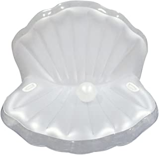 AprilDecember666 2018 New Inflatable Mermaid Princess Seashell Pool Float, Giant Sea Shell Pool Raft Mattress with White Pearl - 67 x 51 x 51 inches - White (Transparent Edge)