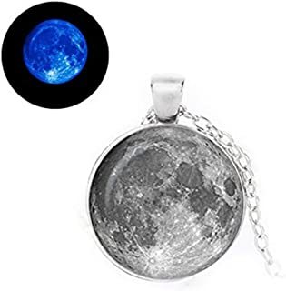 Glowlala®Glowing Full Moon Necklace, Glow in The Dark,Glass Photo Pendant Charm, Space Jewelry