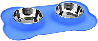 GLOBEAGLE Pet Bowls Stainless Steel Double Silicone Pet Bowls Cat Dog Food Water Feeder- Blue S