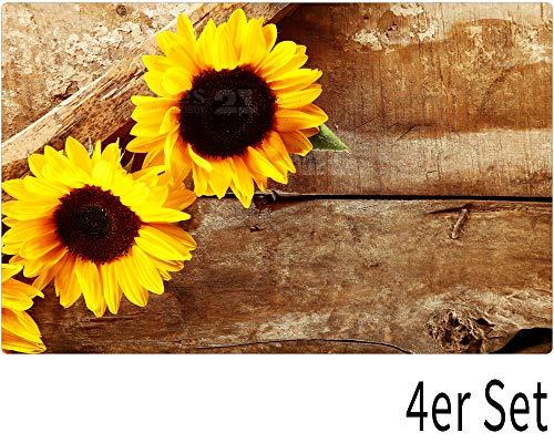 matches21 Tischsets Platzsets Motiv Sonnenblumen auf Holz 4er Set Kunststoff abwaschbar je 43,5x28,5 cm