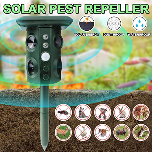 WMNRNYD Repelente de Animales ultrasónico para Exteriores, Activado por Movimiento con energía Solar y Carga USB, Asusta eficazmente a los Gatos, Ardillas, Lunares, Perros, Ratas, etc.