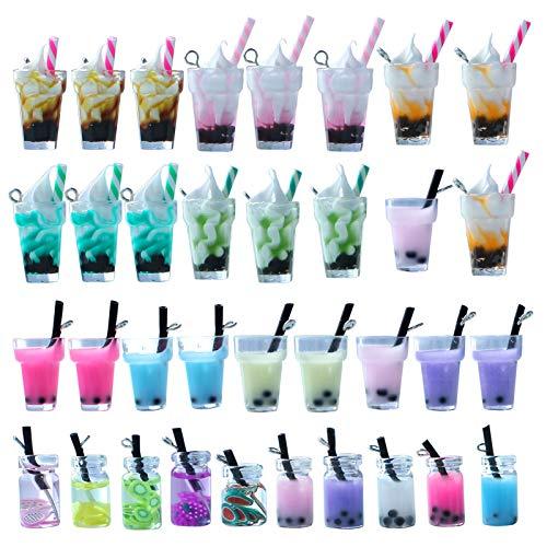 Juego de 35 colgantes de resina para helado, helados y té de burbujas para manualidades, para decoración de bolsas de llavero