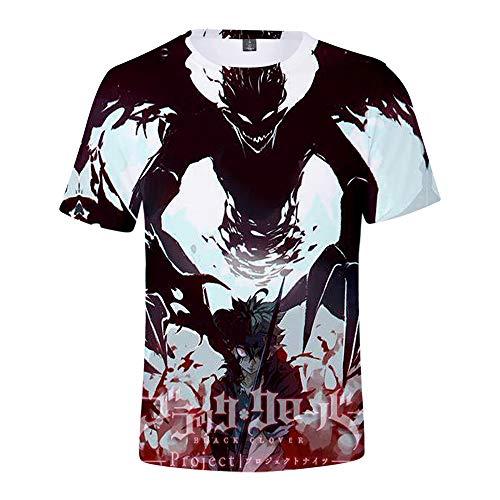 Black Clover Camiseta Camiseta de Manga Corta Deportiva para Hombre Transpirable Top Training Gym Wear Tops de Primavera y Verano Unisex