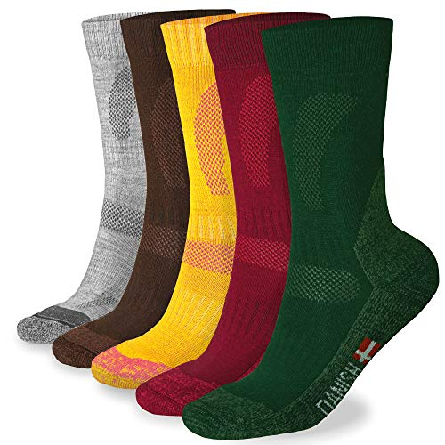 DANISH ENDURANCE Merino Wool Hiking & Trekking Socks (Forest Green 3 Pairs, US Women 8-10 // US Men 6.5-8.5)