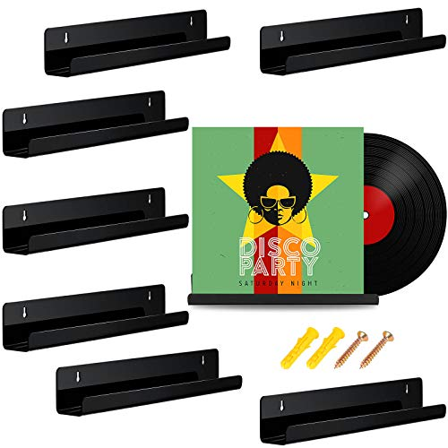 8 Piezas Estante de Discos de Vinilo Estante de Exhibicion de Marcos Discos Estante de Pared de Acrílico para Recogida y Decoración de Discos (Negro)