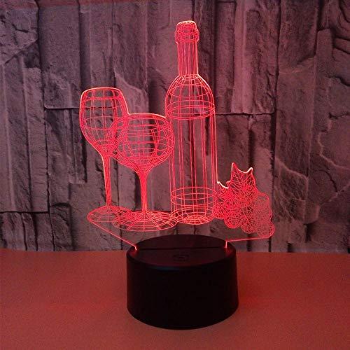Buntes 3D Tischlampen Weinflaschen 3D Nachtlicht berühren Fernbedienungshauptgeschenk 3D Nachtlicht Milla Jovovich